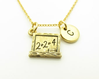 Chalkboard Necklace, Math Teacher Necklace, Personalized, Initial Necklace, Antique Gold, Chalk Board Charm, Stamped Initial Letter Z271