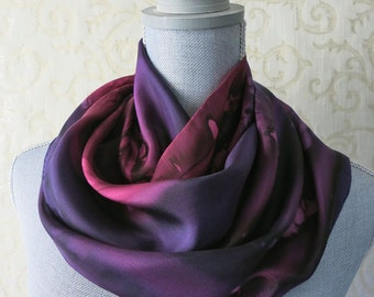 Silk Scarf Hand Dyed in Wine and Plum Purple