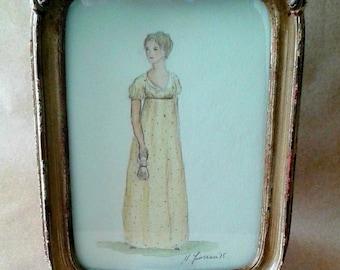 Original Watercolor.  Emma.  Jane Austen Art. Framed. 5x7.