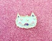Fuzzy Cat Lapel Pin - Cat Enamel Pin - Cute Cat - Precious Kitty - Mint Green Seafoam Cat Enamel Lapel Pin