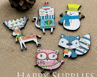 4Pcs Handmade Laser Cut Chrismas / Festival Animal Charms / Pendants (CWH01-05)