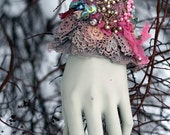 Maharani-- shabby chic bohemian wrist wrap with antique lace and beading