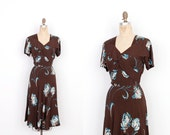 Vintage 1940s Dress / 40s Floral Printed Rayon Dress / Brown and Blue (medium M)