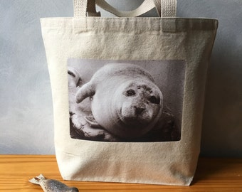 Atlantic Harbor Seal - Boston Harbor Seal - Natural Cotton Canvas Small Tote Bag - On the Go Bag - Handbag Tote - Original Photograph