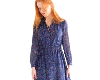 SALE - Confetti Rain, blue Japanese vintage dress, small - medium