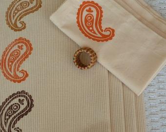 Cream Napkins with Orange Paisley Design - Set of 4