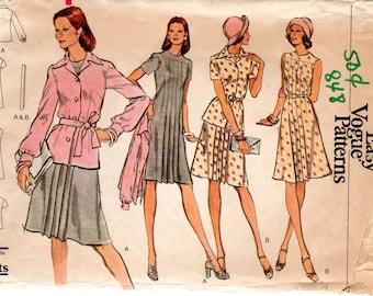 1970s Pleated Yoke Dress & Jacket - Vintage Pattern Vogue 8768 - Bust 34