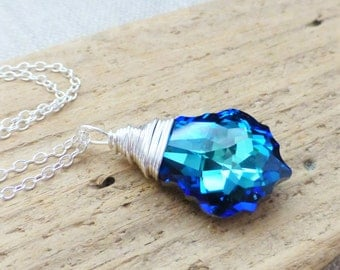 Swarovski Crystal Necklace, Bermuda Blue Crystal Pendant, Beach Necklace, Bridesmaid Jewelry, Gift for Her, Ocean Jewelry, Beach Wedding