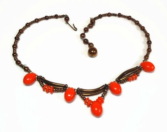 Orange & Copper Beaded Necklace in Single Strand in Festoon Design with J-Hook and Extender Closure - Vintage 50's Costume Jewelry