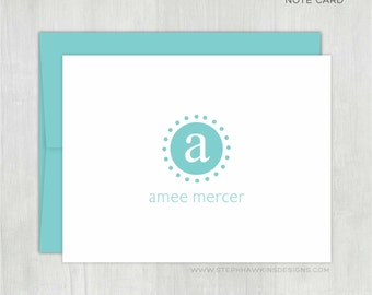 Personalized Note Cards Set • Dotty Circle {FOLDED} • 10 Note Cards with Envelopes • Personalized Stationery • Personalized Thank You Notes