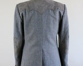 Mens Western Sport Coat /  Gray Western Style With Suede Leather Patches Sport Coat Jacket / Vintage / Size Small / GOGOVINTAGE