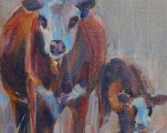 Cow Art, Cow painting, Hereford cow,  Farmhouse, Bovine, Cow and Calf, Nursery art, Southwestern Art, Farm Animals, Original Oil