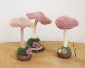 Felted Mushrooms, Needle Felt Mushroom, Waldorf Easter, WoodLand Baby Nursery, Montessori Play, Fairy Party, Wedding Boho Decor, ROSE SET
