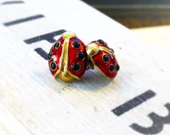 MOVING SALE Fly Away Home, Vintage Enamel Red and Black Ladybug, Ladybug Post Pierced Earrings from Hollywood Hillbilly