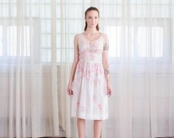 50s Floral Dress - Vintage 1950s Rose Print Dress - Canne Rose Print Dress