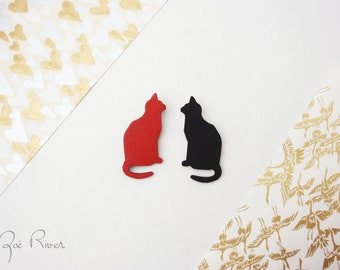Black or red cat wooden brooch. Cat brooch. Cat pin. Cat jewelry