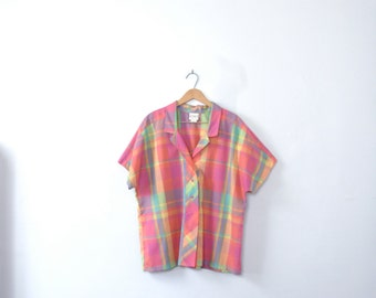 Vintage 80's bright pink plaid blouse, size large / xl