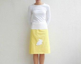 Easter Rabbit Skirt Women's T Shirt Skirt Yellow Recycled T-Shirt Skirt Handmade Tee Skirt Knee Length Skirt Cotton Skirt Summer Skirt ohzie