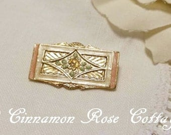Vintage Gold Tone Enameled Bar Brooch ~ Pink And Green