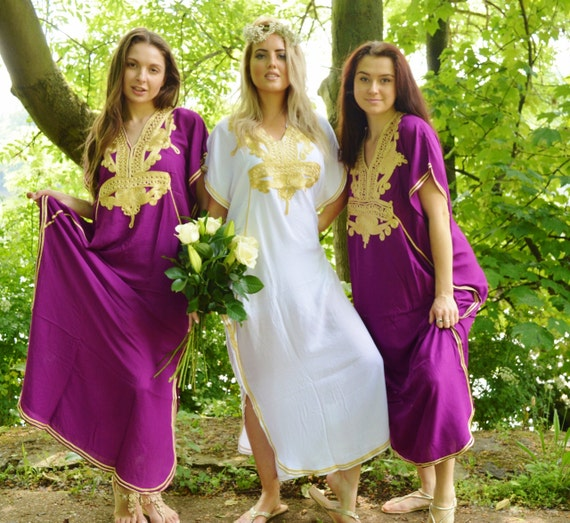 Set of 10 + Bridesmaid robes,Bridesmaid gifts, Purple Gold Marrakech One Size Moroccan Kaftan-Beach wedding,bridal shower party, baby shower