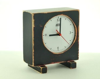 Desk Clock, Unique Black Red home decor, Table clock, Gift ideas, Handmade clock, Wood Black Clock, Distressed wood, For Mom, Spring decor