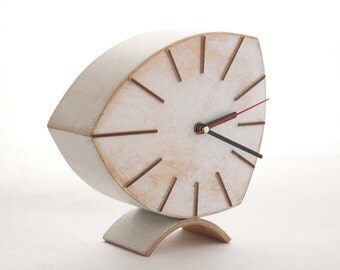 White Desk Clock, Wood Clock, Wooden Clock, Unique Gift clock, Distressed clock, Spring white decor, Desk Clock White, Wood handmade Clock