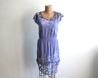 Violet Lace Cutout Botanical Dress