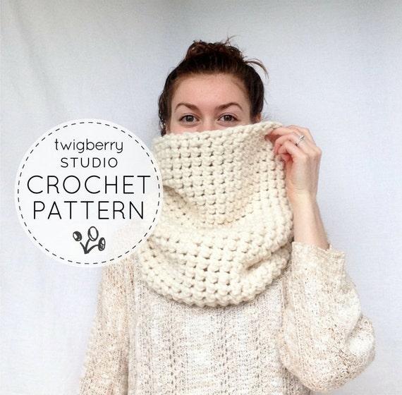Chunky Knit Cowl Scarf Knitting PATTERN reversible DIY ...