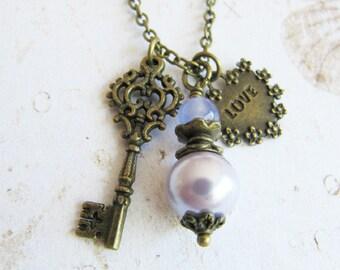 Purple Bridesmaid necklace, purple pearl necklace, bridesmaid gift, rustic wedding jewelry, vintage style,