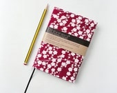 Cherry Red Vintage Kimono Silk Reusable Notebook / Journal Cover 'Sakura'