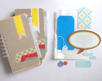 Smash Book Scrapbook Mini Album . Mixed Media Notebook Daybook Junk Art Journal Album . Recycled Ephemera Embellishments Kit Collage Art
