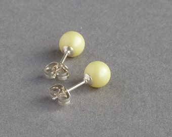 Lemon Stud Earrings - Pastel Yellow Swarovski Pearl Studs - Pale Yellow Bridesmaid Jewellery - Light Yellow Stocking Fillers - Post Earrings