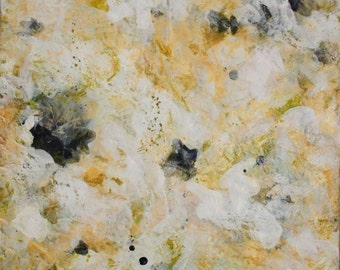 Encaustic Painting Original Abstract Painting Green Gold  painting Her First Green  24 x 18  Swalla Studio