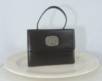 SALE Vintage Purse - 1950s Grey Structured Handbag - Early 60s Gray Evening Bag
