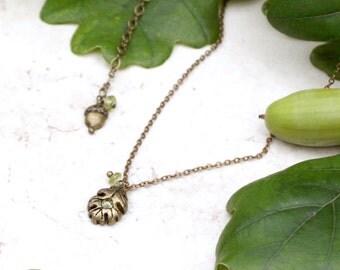 Oak Leaf Necklace, Tiny Oak Leaf and Peridot Pendant, Acorn Charm Necklace, Green and Gold, Oak Leaf and Acorn Jewelry, Acorn Pendant
