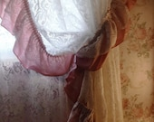 RESERVED DIANA. Vintage White Lace Curtains. Pink Ruffle. Lace Priscilla Style Curtains. Shabby Chic Cottage ROmance