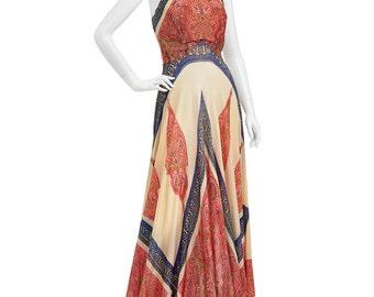 Vintage 70's India Ethnic Paisley HANKIE Hem Bohemian Block Print Scarf Supermodel Length Halter Maxi DRESS