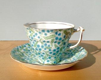 Old Royal Bone China England Teacup and Saucer, Tea Cup, Blue Flowers