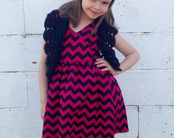 Girls Black Bolero Fits size 4T to 8x, Girls Shrug, Crochet Shrug-Crochet Bolero