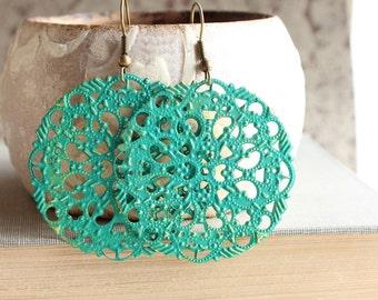 Filigree Earrings Teal Green Earrings Dangle Earrings Lace Lacy Pattern Bright Spring Earrings Patina Earrings Boho Jewelry Long Earrings
