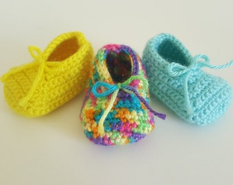 Crochet Baby Booties, 3 pairs (0-3 months)