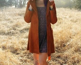 WAVERLY Vintage 1970's Joseph Magnin Canada Label Burnt Orange Sued Leather Jacket Size 7/8