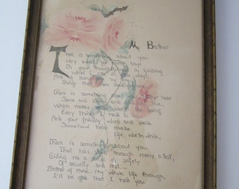 """1930s """"My Brother"""" Original Poem and Watercolor in Wood Frame - Vintage Hand Made Sentiment"""