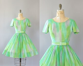 Vintage 50s Dress/ 1950s Cotton Dress/ Sa'bett of California Lime Green and Pink Brushstroke Print Dress w/ Bow Waist Belt S