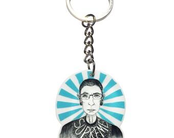Ruth Bader Ginsburg Keychain - Notorious RBG keyring - Supreme Court Justice