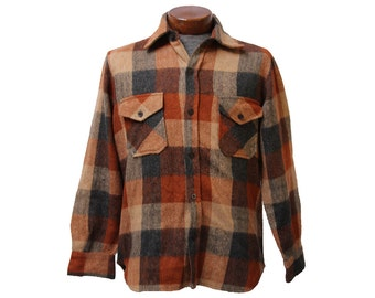 Burnt Orange CPO Flannel Shirt 80's Vintage Flannel Size Medium