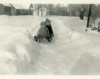 "Vintage Photo ""In Need of a Hill"" Snow Sled Toy Snapshot Antique Photo Old Black & White Photograph Found Paper Ephemera Vernacular - 39"