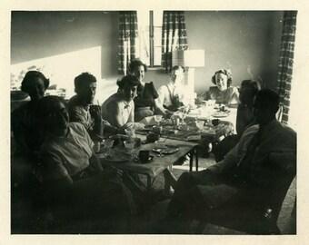 "Vintage Snapshot ""The Mystery Dinner Guests"" Shadow Silhouette Dark Odd Weird Eat Table Food Dinner People Found Photo Paper Ephemera - 146"