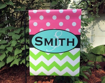 Chevron Polka Dot Personalized Garden Flag Monogram Sign