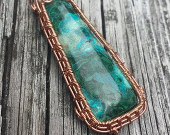 Fairy Door Wire Wrapped Pendant with Chrysocolla and Malachite in Copper Wire, with Sunburst Weave and Swirls, Ocean Colored Stone